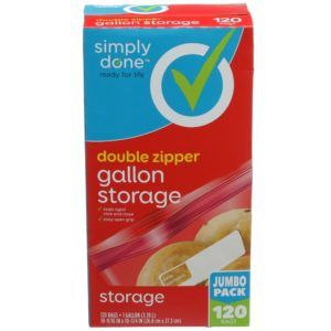 Double Zipper Gallon Storage Bags, Jumbo Pack 120 ct