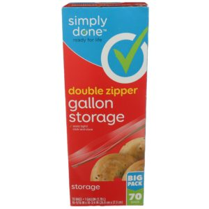 Double Zipper Gallon Storage Bags, Big Pack 70 ct
